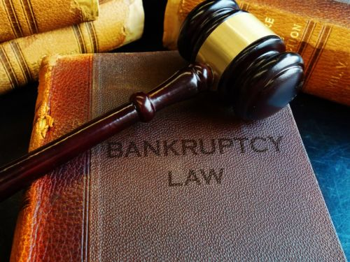 bankruptcy law books with a gavel on top